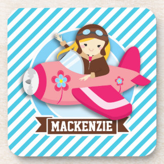 Girl Pilot in Pink Airplane; Blue & White Stripes Coasters
