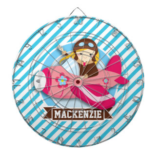 Girl Pilot in Pink Airplane; Blue & White Stripes Dartboards