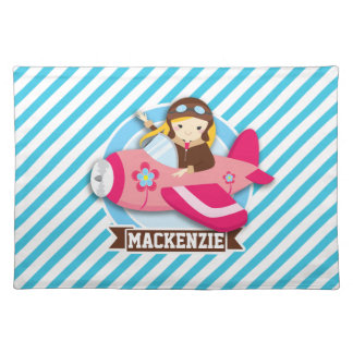 Girl Pilot in Pink Airplane; Blue & White Stripes Cloth Place Mat