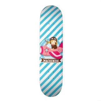 Girl Pilot in Pink Airplane; Blue & White Stripes Skateboard
