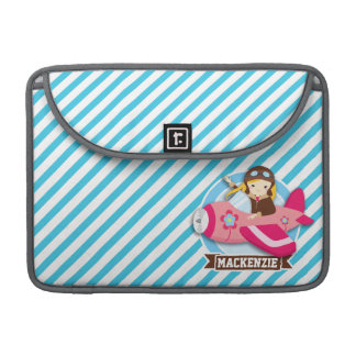 Girl Pilot in Pink Airplane; Blue & White Stripes Sleeve For MacBooks
