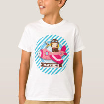 Girl Pilot in Pink Airplane; Blue & White Stripes T-Shirt