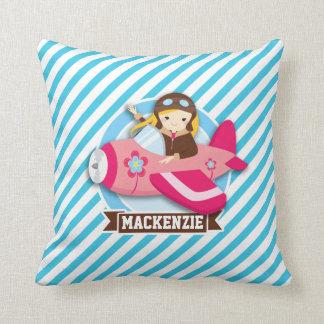 Girl Pilot in Pink Airplane; Blue & White Stripes Throw Pillow