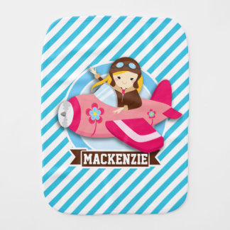 Girl Pilot in Pink Airplane; Blue & White Stripes Baby Burp Cloth