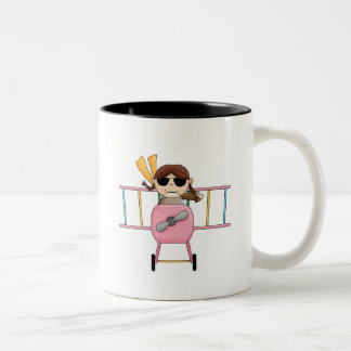 Girl Pilot T-shirts and Gifts Two-Tone Coffee Mug
