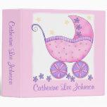 Girl Pink Baby Buggy Photo Custom Baby Book Album Binders