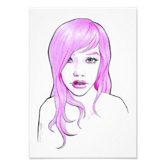 Girl pink cartoon portrait pop art Photo print