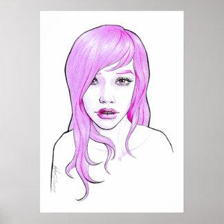 Girl pink cartoon portrait pop art Poster print