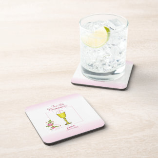 Girl Pink First Holy Communion, Chalice, Host, Ros Coaster