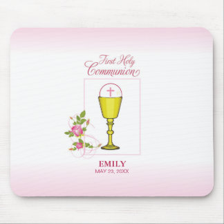 Girl Pink First Holy Communion, Chalice, Host, Ros Mouse Pad