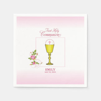 Girl Pink First Holy Communion, Chalice, Host, Ros Napkin