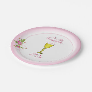 Girl Pink First Holy Communion, Chalice, Host, Ros Paper Plate