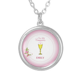Girl Pink First Holy Communion, Chalice, Host, Ros Silver Plated Necklace