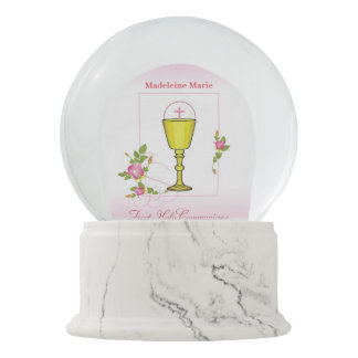 Girl Pink First Holy Communion, Chalice, Host, Ros Snow Globe