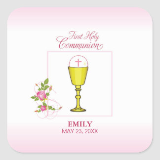 Girl Pink First Holy Communion, Chalice, Host, Ros Square Sticker