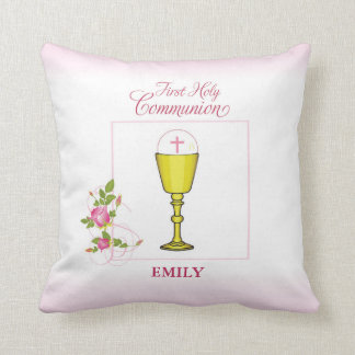 Girl Pink First Holy Communion, Chalice, Host, Ros Throw Pillow