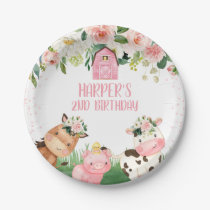 Girl Pink Floral Farm Birthday Party Plate