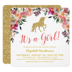 Girl Pink Gold Glitter Unicorn Baby Shower Invitation
