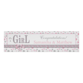 GIRL Pink Gray Dots Baby Shower Banner Poster