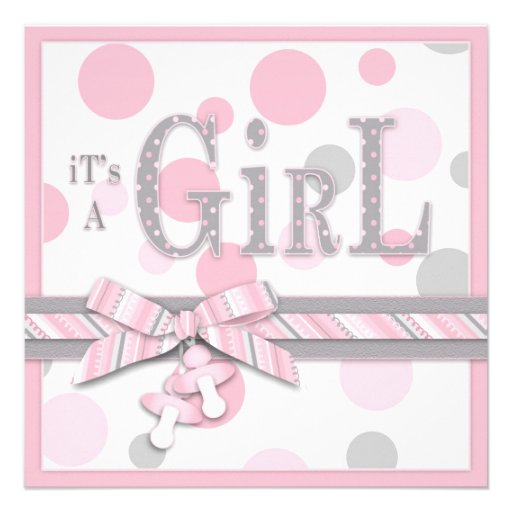 girl pink gray dots baby shower square paper invitation card
