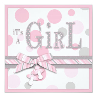 GIRL Pink Gray Dots Baby Shower 5.25x5.25 Square Paper Invitation Card