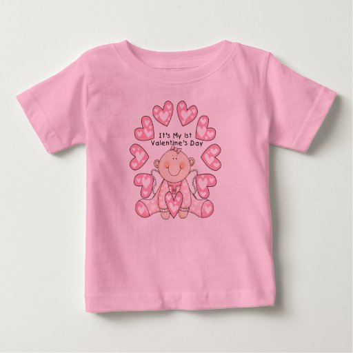 Girl Pink Hearts 1st Valentines Day Tshirts