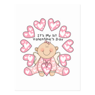 Girl Pink Hearts 1st Valentines Day Tshirts Postcard