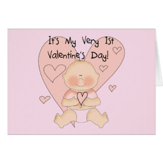 Girl Pink Hearts 1st Valentines Tshirts Card