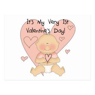 Girl Pink Hearts 1st Valentines Tshirts Postcard