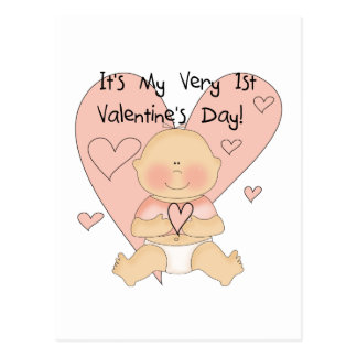 Girl Pink Hearts 1st Valentines Tshirts Postcard