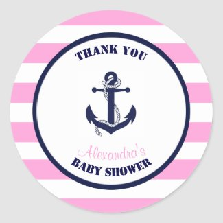 Girl Pink Nautical Baby Shower Thank You Favor Classic Round Sticker