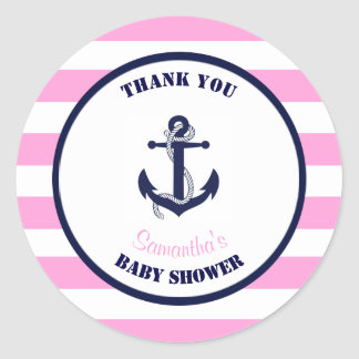 Girl Pink Nautical Baby Shower Thank You Favors Classic Round Sticker