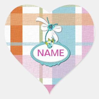 Girl Pink Plaid Striped Customize Heart Sticker