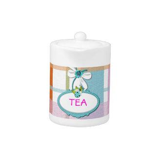 Girl Pink Plaid Striped Customize Teapot