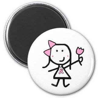 Girl & Pink Ribbon 2 Inch Round Magnet