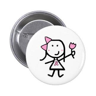Girl & Pink Ribbon Pinback Button