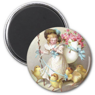 Girl, Pink Roses and Chicks on Leashes 2 Inch Round Magnet