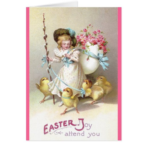 Girl, Pink Roses and Chicks on Leashes Greeting Card