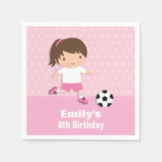 Girl Pink Soccer Birthday Party Supplies Napkins