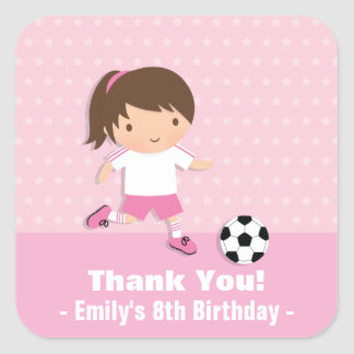 Girl Pink Soccer Birthday Party Thank You Stickers