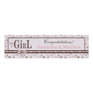 GIRL Pink Taupe Dots Baby Shower Banner Poster