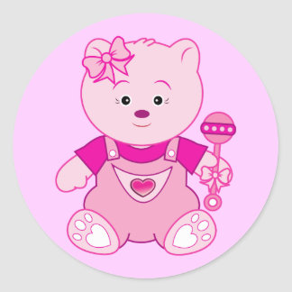 Girl Pink Teddy Bear with Rattle Round Stickers