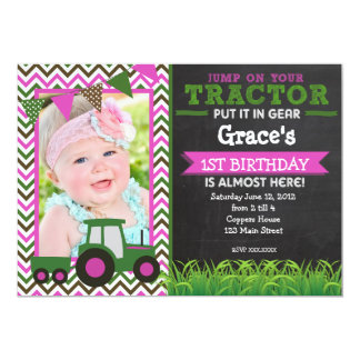 Girl Pink Tractor Birthday Party Invitation