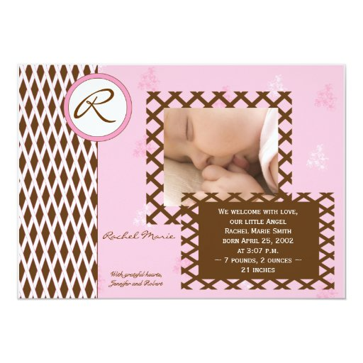 Girl Pink Trellis Monogram Photo Baby Announcement