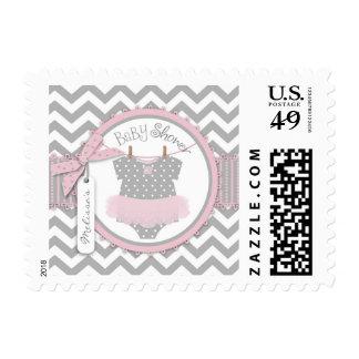 Girl Pink Tutu Chevron Print Baby Shower Stamp