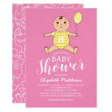 Girl Pink Yellow Cute Baby Shower