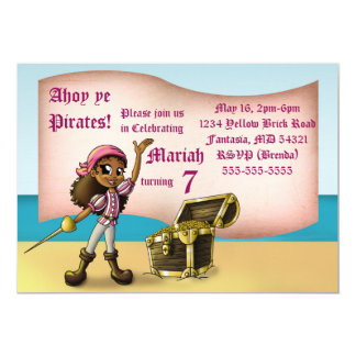 """Girl Pirate Birthday Invitation"" 7"" x 5"" Cards"