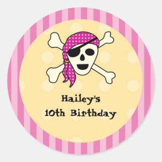 Girl Pirate Favor Seal Sticker
