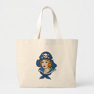 Girl Pirate Large Tote Bag