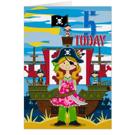 Girl Pirate Ship Scene 5th Birthday Card